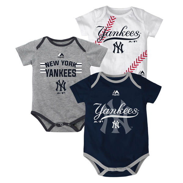 New York Yankees Majestic Newborn   Infant Three Strikes Bodysuit ... f98bc9996