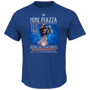 MAJESTIC MIKE PIAZZA  METS ROYAL 2016 HALL OF FAME PLAYER STAT T-SHIRT