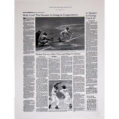 NEW YORK TIMES COVER REPRINT FEBRUARY 27 1994 SCOOTER IS GOING TO COOPERSTOWN