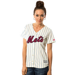 New York Mets Majestic Women's Fashion Stars & Stripes Cool Base Jersey – White