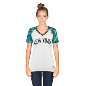 Women's New York Yankees PINK by Victoria's Secret White/Teal Bling Mesh Jersey