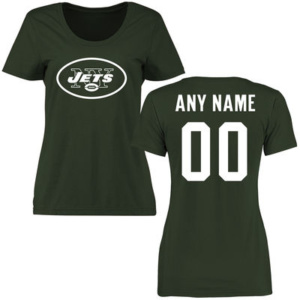 WOMEN'S NEW YORK JETS GREEN CUSTOM NAME & NUMBER LOGO CLASSIC FIT T-SHIRT–