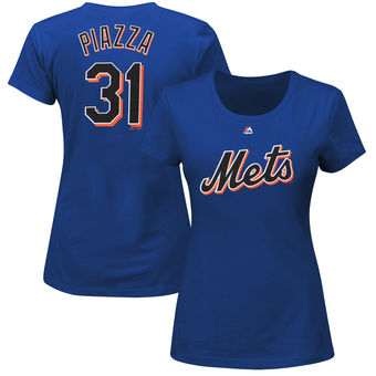 Piazza New York Mets Majestic Women's Cooperstown Name & Number T-Shirt – Royal Blue