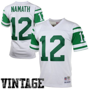 MENS NEW YORK JETS JOE NAMATH MITCHELL & NESS WHITE 1968 RETIRED PLAYER VINTAGE REPLICA JERSEY