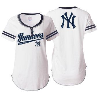new products c828b ca64a New York Yankees 5th & Ocean by New Era Women's Slub Jersey T-Shirt -- White
