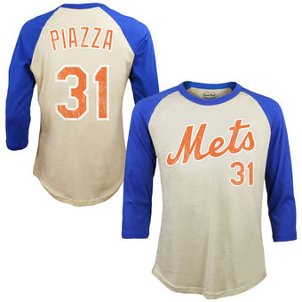 Mike Piazza New York Mets Majestic Threads Softhand Cotton Cooperstown 3/4-Sleeve Raglan T-Shirt – Cream-
