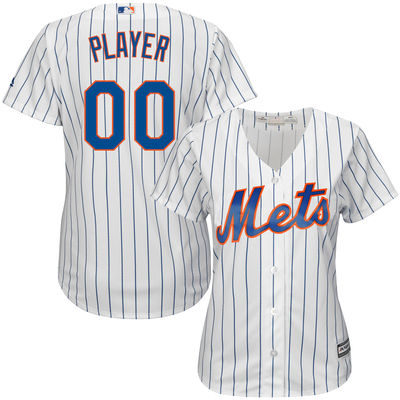 Women's New York Mets Majestic White/Royal Home Cool Base Custom Jersey–