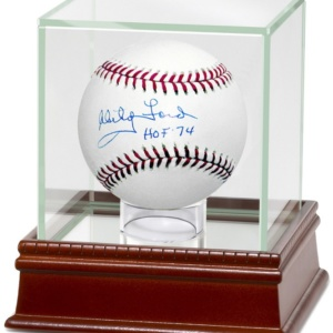 "Whitey Ford Autographed Baseball – ""HOF"" Inscription-"