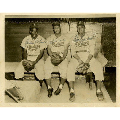 Jackie Robinson Roy Campanella and Don Newcombe Multi-Signed 8×10 Photo ( and JSA Auth)