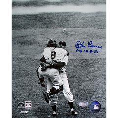 Don Larsen Signed Perfect Game Hug B/W 8×10 w/ PG insc