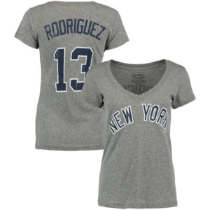 Alex Rodriguez New York Yankees Majestic Threads Women's Name & Number V-Neck T-Shirt – Gray