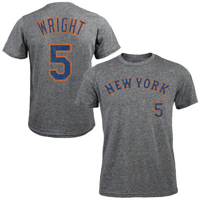 David Wright New York Mets Majestic Threads Premium Tri-Blend Name & Number T-Shirt – Gray-