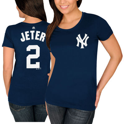 online retailer 4256d 63060 Derek Jeter New York Yankees Majestic Women's Name and Number T-Shirt -  Navy-