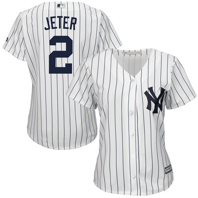 2930750c5 Derek Jeter New York Yankees Majestic Women's Cool Base Player Jersey –  White-
