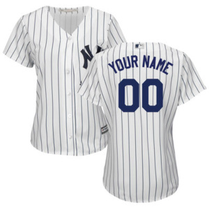 Women's New York Yankees Majestic White/Navy Home Cool Base Custom Jersey