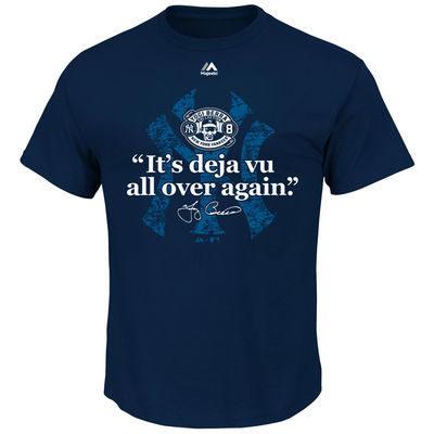 Yogi Berra New York Yankees Majestic Deja Vu Quote T-Shirt – Navy