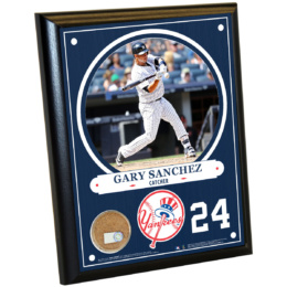 New York Yankees Gary Sanchez 8×10 Plaque with Game Used Dirt from Yankee Stadium
