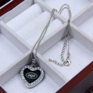 Touch by Alyssa Milano New York Jets Women's Crystal Heart Team Logo Pendant Necklace