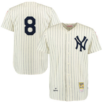 Yogi Berra New York Yankees Mitchell & Ness Throwback 1951 Authentic Jersey – Cream/Navy