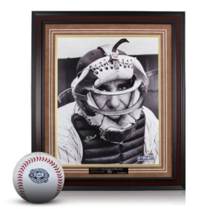 Yogi Berra Bundle: Signed 16×20 Catchers Mask Photo Framed & Yogi Berra Commemorative Logo Baseball