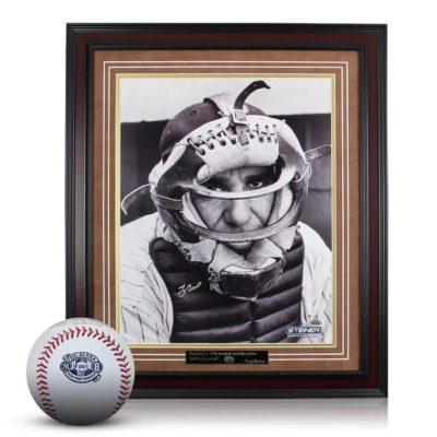 Yogi Berra Bundle: Signed 16×20 Catchers Mask Photo Framed & Yogi Berra Commemorative Logo Baseball