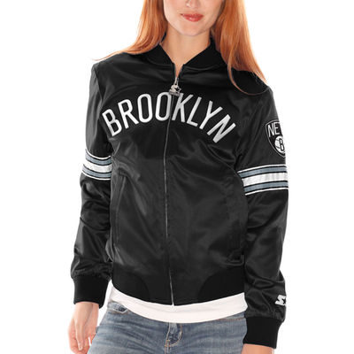 Women's Brooklyn Nets Starter Black Blitz Satin Full Zip Jacket