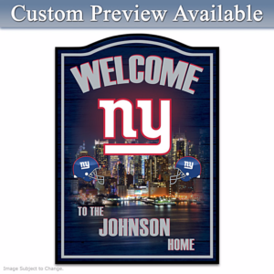 New York Giants Wooden Welcome Sign Personalized With Name