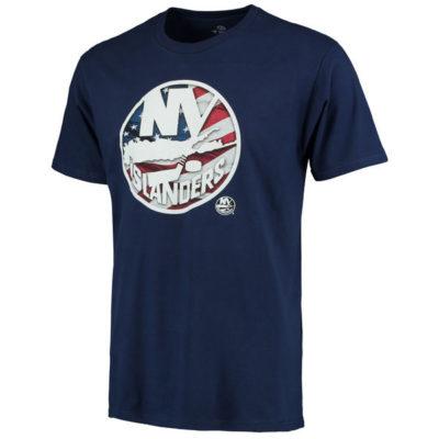 Men's New York Islanders Navy Banner Wave T-Shirt ny sports shop