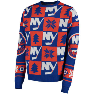 Men's New York Islanders Klew Blue Patches Ugly Sweater-