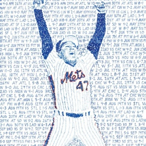 1986 NEW YORK METS ROAD TO THE WORLD SERIES WORD ART