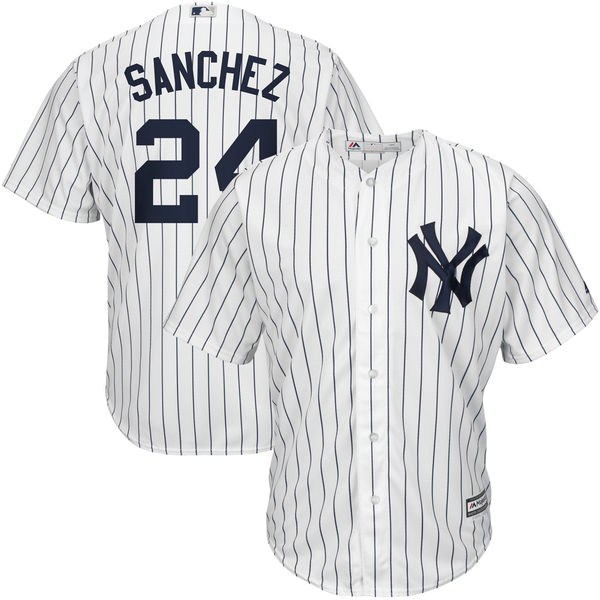 the latest cb58d 40905 Men's New York Yankees Gary Sanchez Home White/Navy Official Cool Base  Player Jersey
