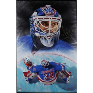 Henrik Lundqvist Signed New York Rangers Giclee 21x28 Stretched Canvas