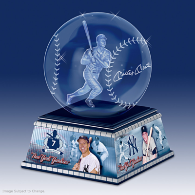 Mickey Mantle Laser-Etched Glass Baseball Sculpture