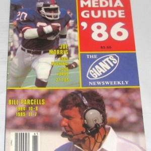 SUPER BOWL SEASON - MORRIS & PARCELLS, THE GIANTS NEWSWEEKLY MEDIA GUIDE,1986