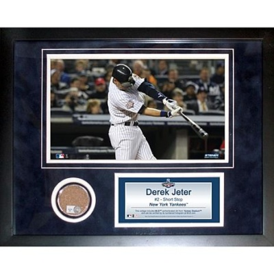 Derek Jeter Photo and Game-Used Dirt Plaque Collage