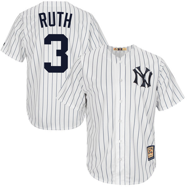 Men s Majestic Babe Ruth White New York Yankees Cool Base Cooperstown  Collection Player Jersey d2d97547d6c