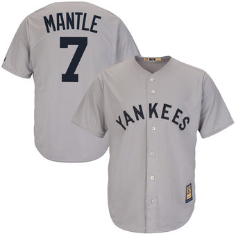 Cooperstown Base New Majestic Player Collection Gray Cool Mantle Jersey Mickey York Men's Yankees|Live NFL Football