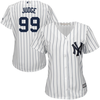 Women's New York Yankees Aaron Judge Majestic Home White Cool Base Player Jersey