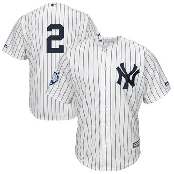 New York Yankees Derek Jeter Majestic White/Navy Big & Tall Home Retirement Patch Jersey