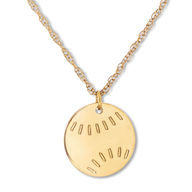 "Baseball Necklace 14K Yellow Gold 16"" Adjustable"
