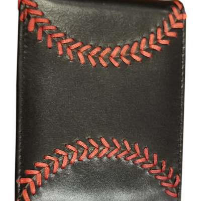 BLECK LEATHER BASEBALL WALLET
