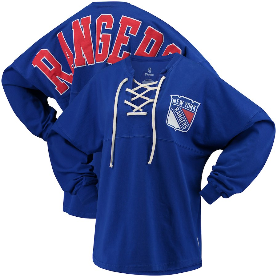 Women s New York Rangers Branded Blue Lace Up Long Sleeve Spirit T ... c84c4c72806