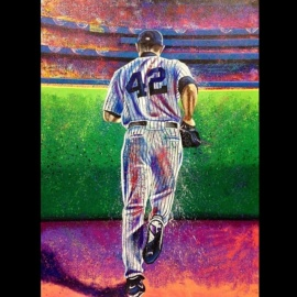 "Mariano Rivera"" Hand Embellished AROC 30×40″ Giclée on Canvas /42 by Artist Bill Lopa"