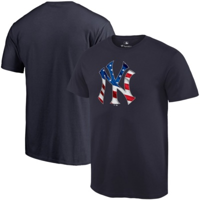 New York Yankees Fanatics Branded 2019 Stars & Stripes Big & Tall Primary Logo Banner Wave T-Shirt