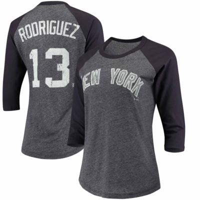 Alex Rodriguez New York Yankees Majestic Threads Women's Name & Number Raglan Three-Quarter Sleeve T-Shirt