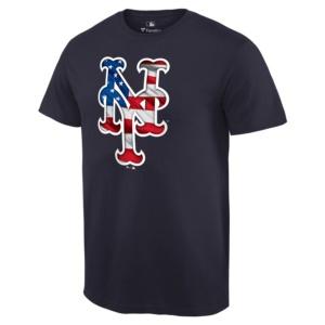 New York Mets Fanatics Branded 2019 Stars & Stripes Banner Wave Logo T-Shirt