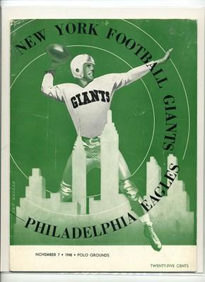 11/7/1948NEW YORK GIANTS GAME PROGRAM VERSUS EAGLES