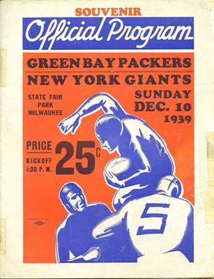 WORLD CHAMPIONSHIP GAME PROGRAM-12/10/1939