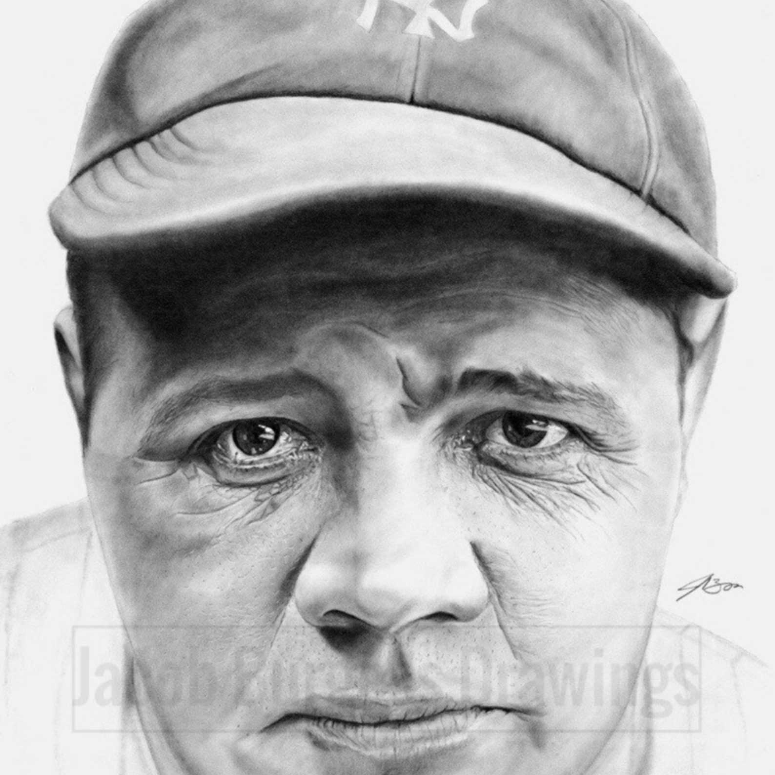 Babe Ruth 11″x14″ Print of Pencil Drawing Yankees Numbered to 300