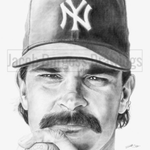 """Don Mattingly 11""""x14"""" Pencil Drawing Print New York Yankees Numbered to 300"""